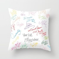 character autographs Throw Pillow by studiomarshallarts