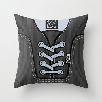 Black Gray Vans shoes Throw Pillow case by Three Second