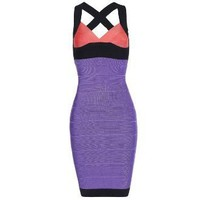Blue V Neck Bandage Dress Purple