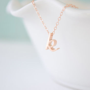 New rose gold initial pendant - cursive initial rose gold necklace