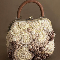 """Knitted bag """"Pearl beauty"""" beige"""