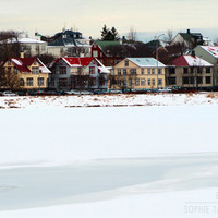 Landscape canvas art, colorful houses, winter photography, panoramic, Iceland, architecture, fine art photography,winter wall art, Reykjavik