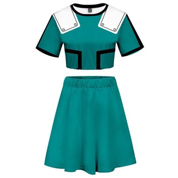 My Hero Academia 2 Pieces Midoriya Izuku Outfits for Women Short Sleeves Crop Top + A Line Skirt Sets
