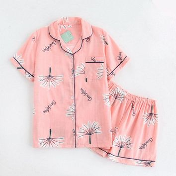 Japanese sweet pyjamas women cotton Summer short sleeves pajama sets women shorts Cute dandelion loungewear ladies short shorts
