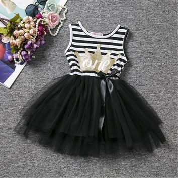 Summer Baby Girl Clothes Sets White Cotton Letter Print T-clothes+ Mini Rainbow Tutu Skirt Suits For Baby 1 Year Birthday Wear