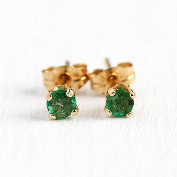Genuine Emerald Earrings - Modern 14k Yellow Gold .24 CTW Fine Prong Set Posts - Estate Pierced Classic Stud May Birthstone Jewelry