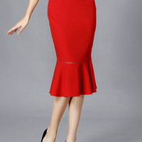 Red Ruffled Midi Skirt