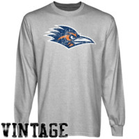 UTSA Roadrunners Ash Distressed Logo Vintage Long Sleeve T-shirt