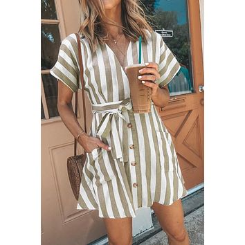 Fashion Short Sleeve Khaki Stripe Casual Dress