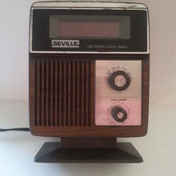 Vintage Seville Clock Radio, LED Digital, Mid Century Modern, Collectible  Man Cave Home