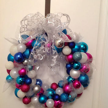 Ornament Wreath / Spring Wreath/ Door Wreath/ Pink, blue, silver and white Wreath/Easter Wreath