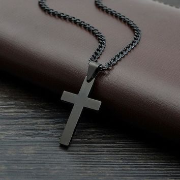 Men's Black Plated Jesus Cross Necklace