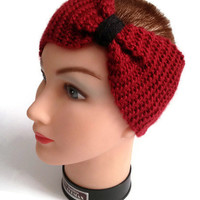 Headband/Cowl, cinched hand knit convertible accessory in red and black