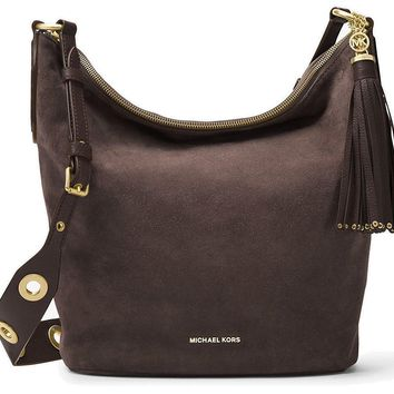 MICHAEL MICHAEL KORS Brooklyn Large Grommet Leather Feed Bag (Suede Coffee)