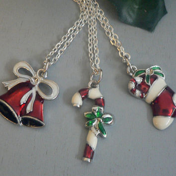 Colorful Christmas Necklace Candy Cane Bell or Stocking Holiday Jewelry Winter Trends