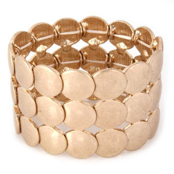 Metallic Gold Circle Link Chain Bracelet