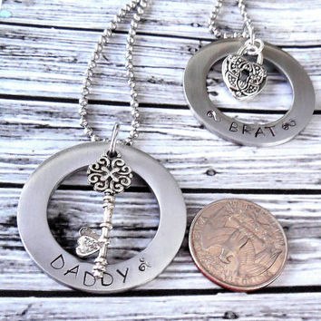 Extra Large You Personalize Stainless Steel Necklace Set / BDSM Master and Sub ,BabyGirl Necklace Duo / BDSM Jewelry For Masters And Pets