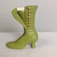 Vintage Victorian Boot Vase 1970s Green Decor