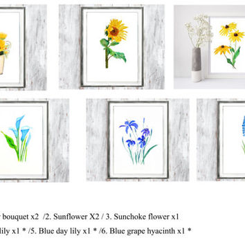 watercolor print clearance watercolor flower watercolor landscape flower art wall art home decor wall decor vintage art botanical art