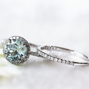 Handmade Natural Aquamarine Engagement Ring 7mm Round Aquamarine Engagement Ring and Half Eternity Band Set in 14K White Gold