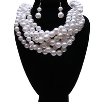 White Layered Pearl Necklace Set