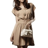 Allegra K Women Scoop Neck Dolman Sleeve Ruched Casual Summer Dresses