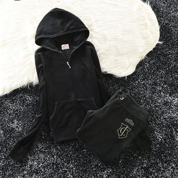 Juicy Couture Studded Jc Velour Tracksuit 6011 2pcs Women Suits Black - Ready Stock
