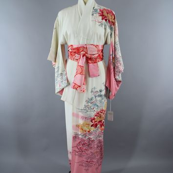1950s Vintage Silk Kimono Robe with Ombre Pink & White Peony Floral Print