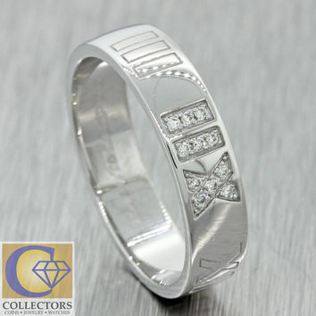 Atlas Tiffany & Co Modern 18k Solid White Gold .12ctw Diamond Roman Numeral Ring