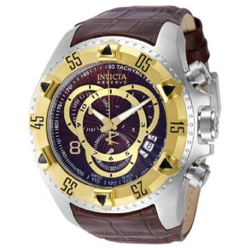 Invicta 11018 Men's Reserve Excursion Gold Tone Bezel Brown Textured Dial Leather Strap Chronograph Dive Watch