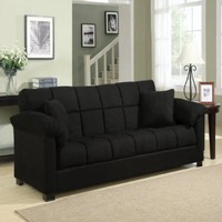 Handy Living CAC4-S1-AAA19 Madrid Microfiber Convert-a-Couch, Black
