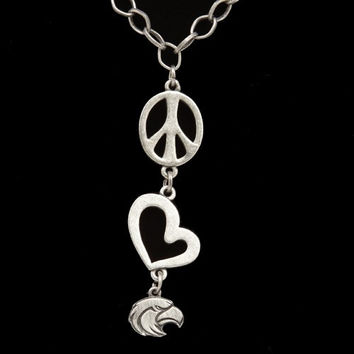 Southern Miss Golden Eagles Pewter Peace: Love Necklace