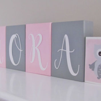 Baby Name Blocks, Owl Elephant, Baby Girl Nursery, Name Blocks, Pink Gray, Baby Girl, Baby Gift, Baby Shower, Nursery Letters Photo Prop