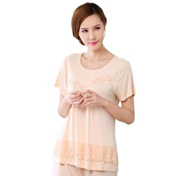 Summer cotton women pajamas set With short sleeves and 7 minutes of pants comfortable shop for soft free shipping