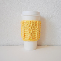 Yellow Cotton Cable Stitch Coffee Cozy, ready to ship.