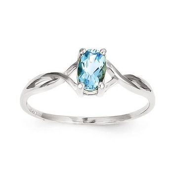 14k White Gold Genuine Swiss Blue Topaz December Birthstone Ring