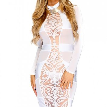 Sexy White Long Sleeves Mesh Knee Length Bodycon Party Dress