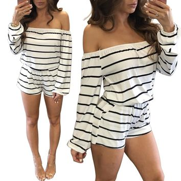 Women's Black/White Striped Off the Shoulder Long Sleeve Shorts Romper