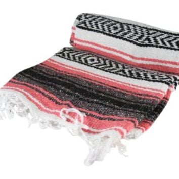 Authentic 6' x 5' Mexican Siesta Blanket (Pink)
