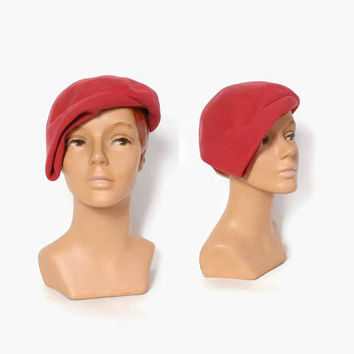Vintage 50s Raspberry Pink HAT / 1950s Sculpted Wool Felt Simple Hat