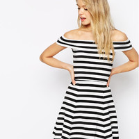 Black and White Stripe Off Shoulder Flounce Mini Dress