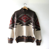 Vintage tribal navajo sweater. Oversized wool sweater. Boho sweater.