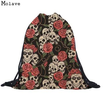 Naivety New Fabric Bag Unisex Floral Skull 3D Printing Bags Cool Drawstring Backpack Mochila S61223 drop shipping
