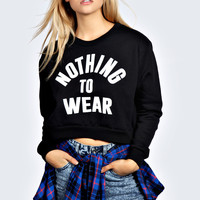Roanne Nothing To Wear Cropped Long Sleeve Sweat Top