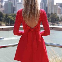 Red Long Sleeve Skater Dress with Scoop Bow Back | UsTrendy