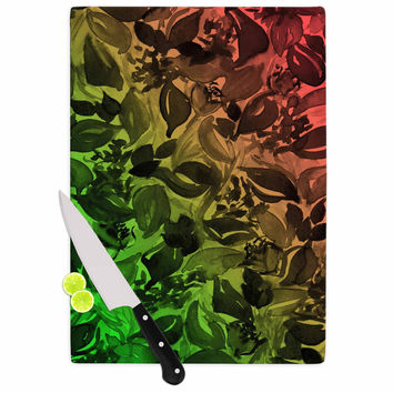 "Ebi Emporium ""Blossoms Unchained 3"" Coral Green Cutting Board"
