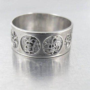 Sterling Silver Cigar Band Ring, Chinese Good Luck Good Fortune Symbols. Uncas Ring. Wedding Band, Men Women Unisex Ring, Size 8.50