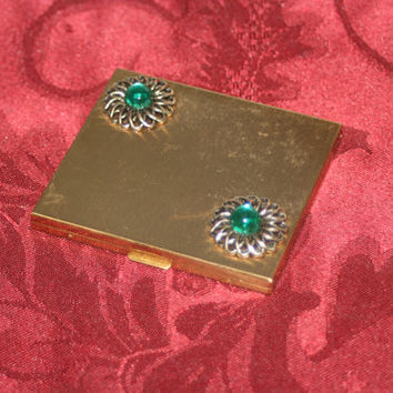 Vintage Ladies Compact with Green Stones