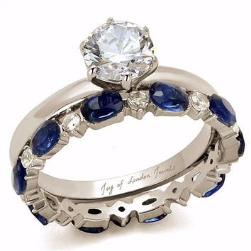 A Perfect 1.3CT Round Cut Solitaire Russian Lab Diamond Blue Sapphire Bridal Set wedding bands