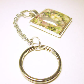 Key Chain With White Flowers In A Vase Silver Pendant Key Ring Silver Tone Chain Housewarming Gift Idea